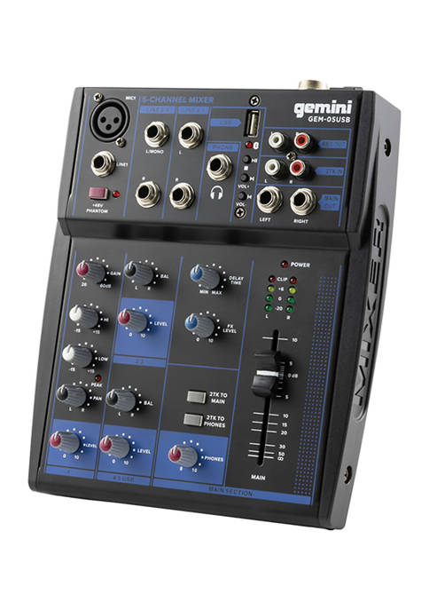 Gemini GEM Compact 5 Channel Bluetooth Audio Mixer