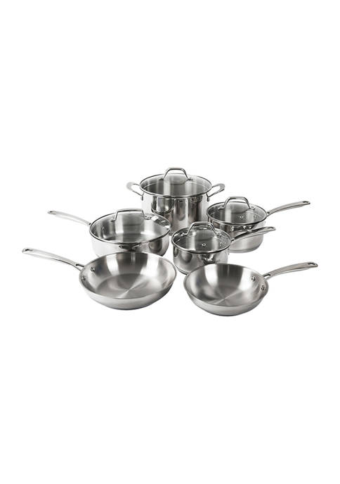 10-Piece Tri-Ply Stainless Steel Pots and Pans Set