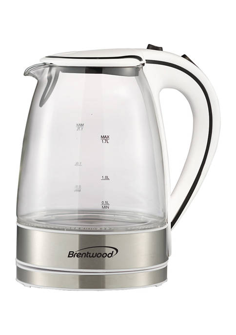 Brentwood 1.7 Liter Cordless Tempered-Glass Electric Kettle
