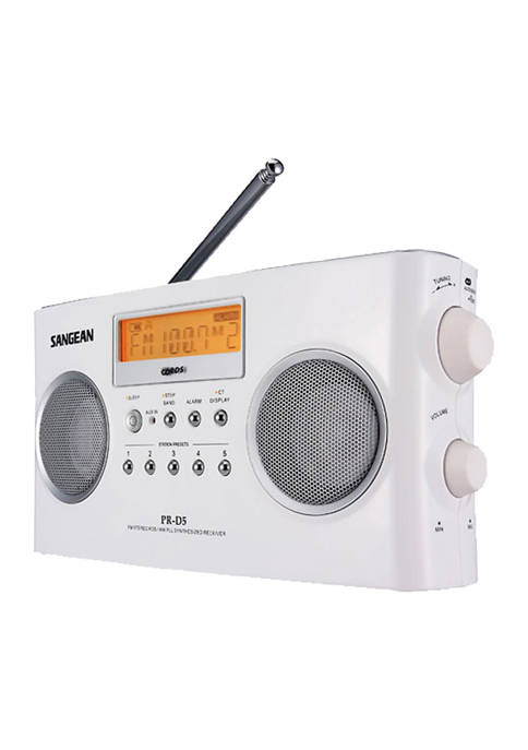 Digital Portable Stereo Receiver with AM/FM Radio (White)