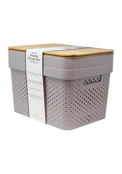 Heritage Set of 2 Plastic Bins with Bamboo