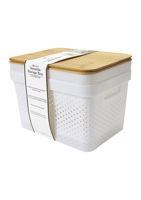 Heritage Set of 2 Perforated Storage Bins with