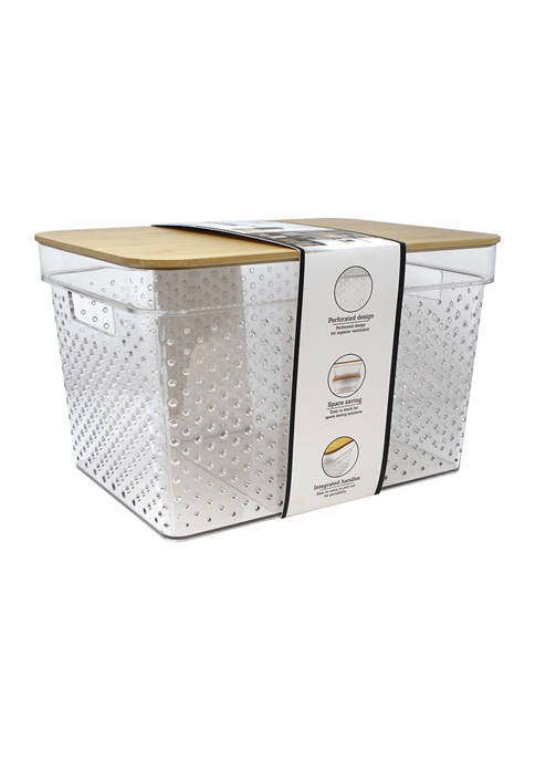 Large Plastic Storage Bin with Bamboo Lid