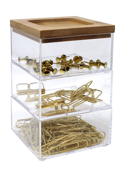 Push Pin, Binder, and Paper Clip Organizer with Lid