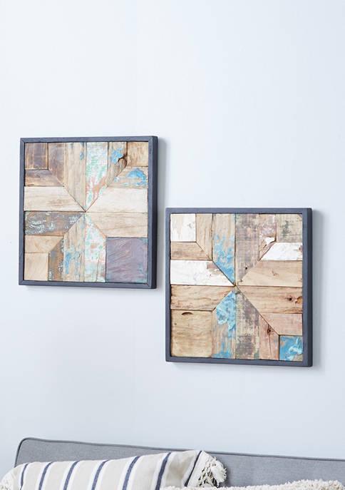 Teak Wood Natural Wall Décor - Set of 2