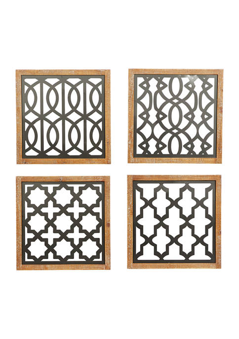 Wood Contemporary Wall Décor - Set of 4