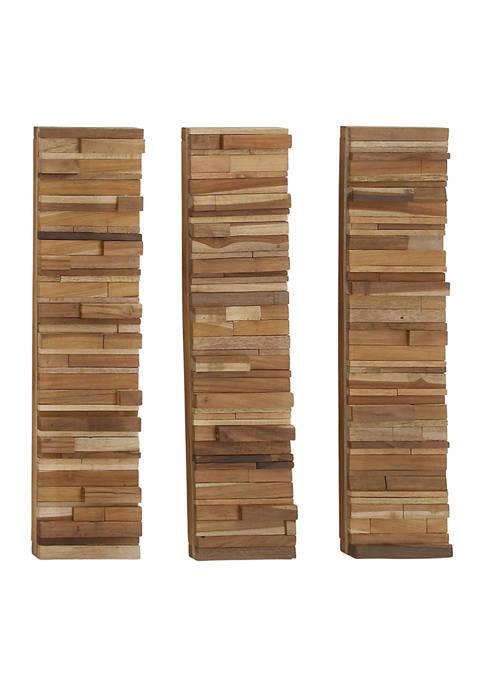 Teak Rustic Wall Decor - Set of 3