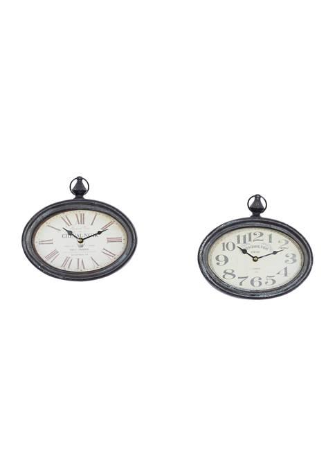 Iron Vintage Wall Clock - Set of 2