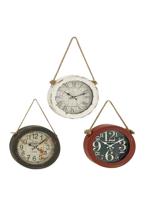 Iron Vintage Wall Clock - Set of 3
