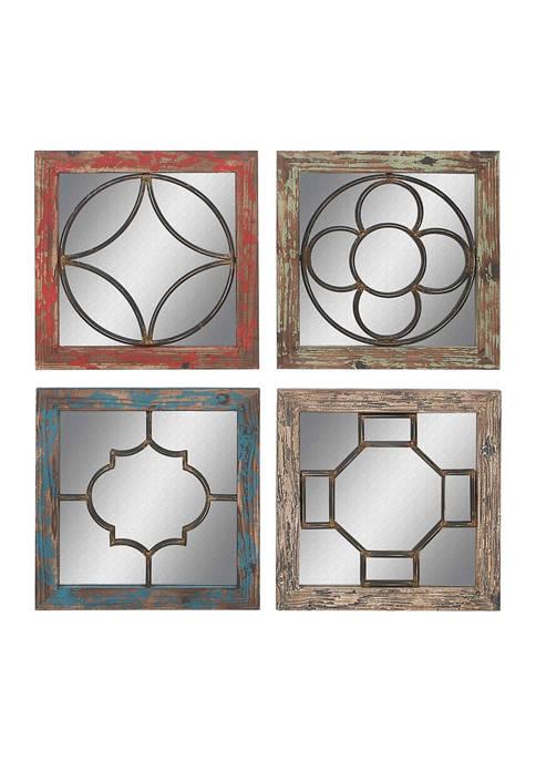 Ceramic Vintage Wall Mirror - Set of 4