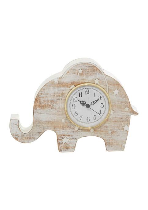 Monroe Lane White Wood Farmhouse Clock