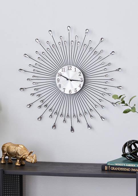 Silver Metal Modern Wall Clock