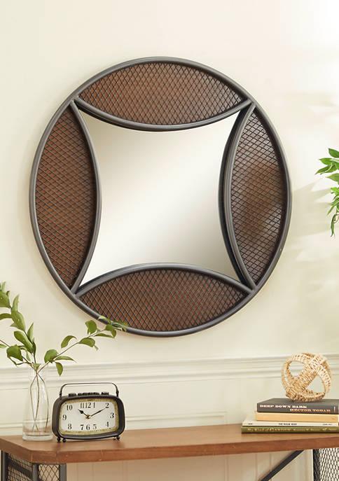 Wood Industrial Wall Mirror