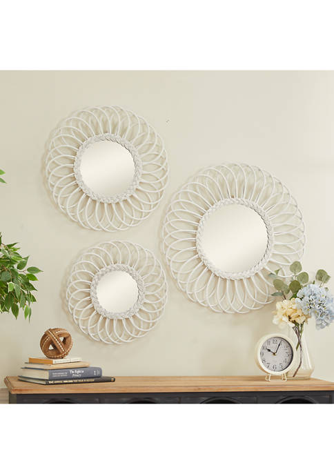 Monroe Lane White Wood Natural Wall Mirror