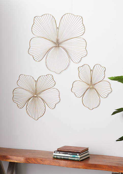 Gold Metal Glam Wall Décor - Set of 3