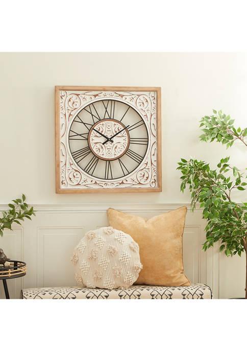 White Wood Farmhouse Wall Clock