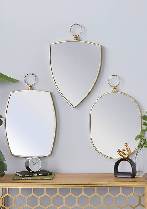 Wood Traditional Wall Mirror - Set of 3