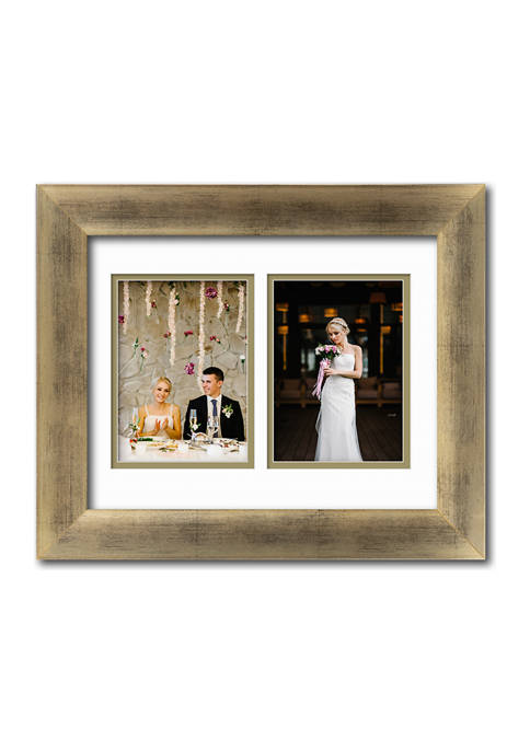 Gala Collection Champagne 11 in x 14 in, 5 in x 7 in Openings Collage Frame