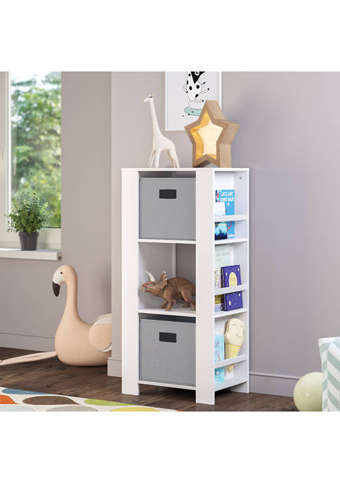 Book Nook Kids Cubby Storage Tower with Bookshelves and 2-Piece Bin Set - Gray