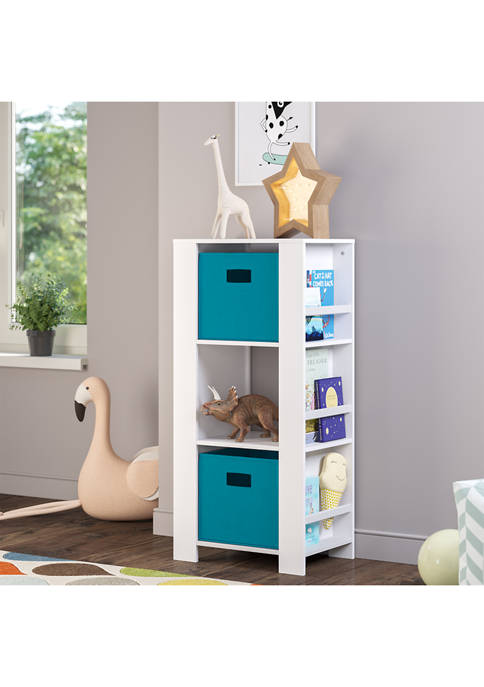 Book Nook Kids Cubby Storage Tower with Bookshelves and 2-Piece Bin Set - Turquoise