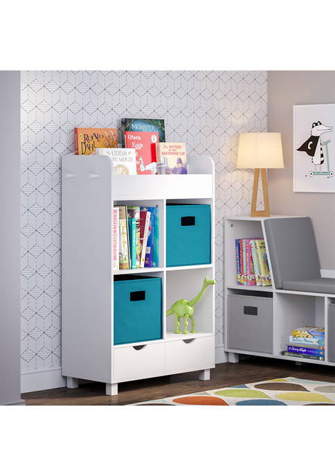 Book Nook Kids Cubby Storage Cabinet with Bookrack and 2 Piece Bin, Turquoise