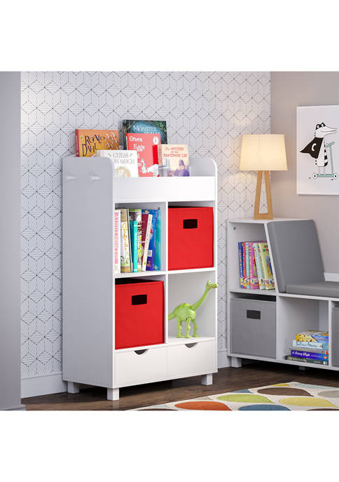 Book Nook Kids Cubby Storage Cabinet with Bookrack and 2 Piece Bin, Red