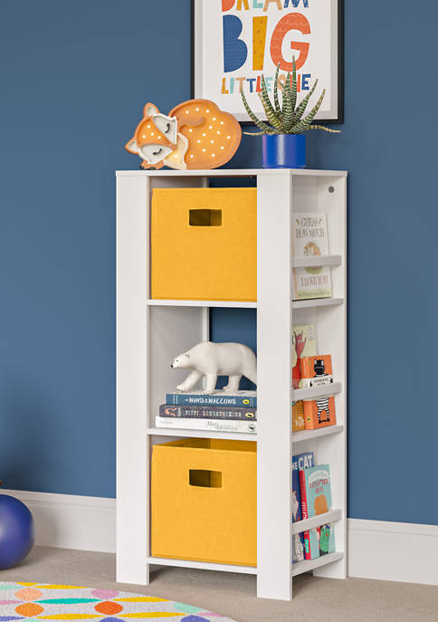 Book Nook Kids Cubby Storage Tower with Bookshelves and 2 Piece Bin, Golden Yellow