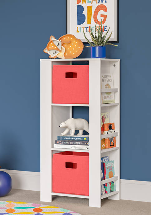 Book Nook Kids Cubby Storage Tower with Bookshelves and 2 Piece Bin, Coral
