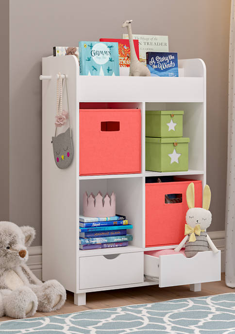 Book Nook Kids Cubby Storage Cabinet with Bookrack and 2 Piece Bin, Coral