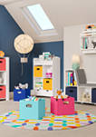 Book Nook Kids Cubby Storage Cabinet with Bookrack and 2 Piece Bin, Taupe