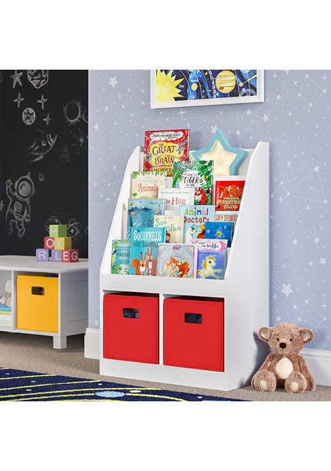 Kids Bookrack with Two Cubbies and 2 Red Bins