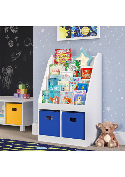 Kids Bookrack with Two Cubbies and 2 Blue Bins