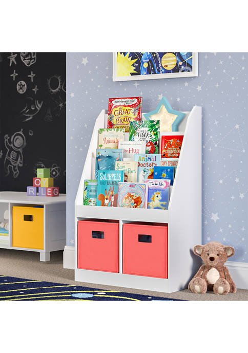 Kids Bookrack with Two Cubbies and 2 Coral Bins
