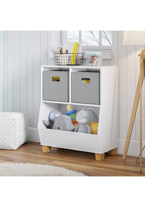 Kids Catch-All Multi-Cubby 24 Inch Toy Organizer and 2 Gray Bins