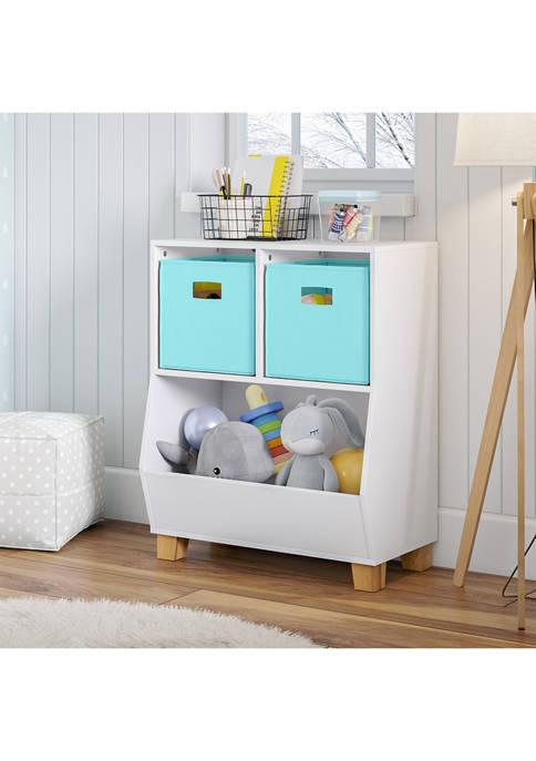 Kids Catch-All Multi-Cubby 24 Inch Toy Organizer and 2 Aqua Bins