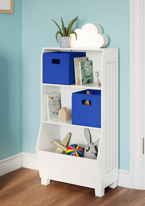 Kids 23 Inch Bookcase with Toy Organizer and 2 Blue Bins