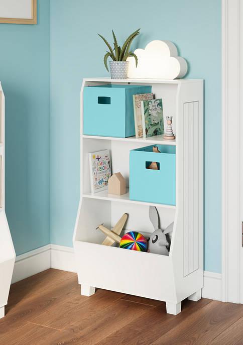 Kids 23 Inch Bookcase with Toy Organizer and 2 Aqua Bins