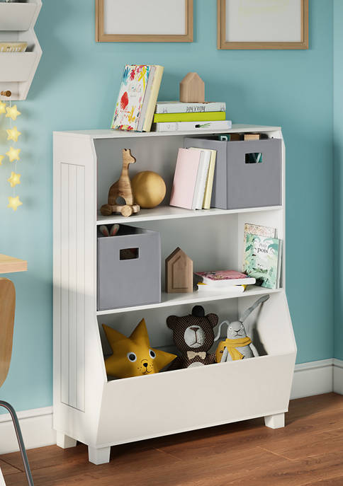 Kids 34 Inch Bookcase with Toy Organizer and 2 Gray Bins