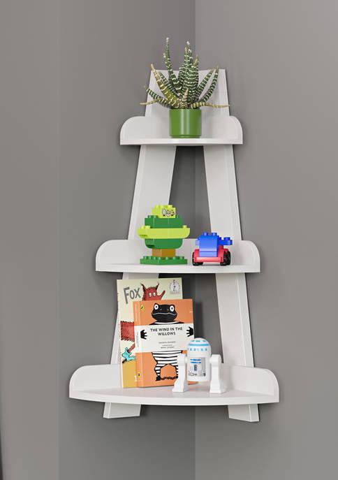 RiverRidge Home Kids Corner Ladder Wall Shelf, White