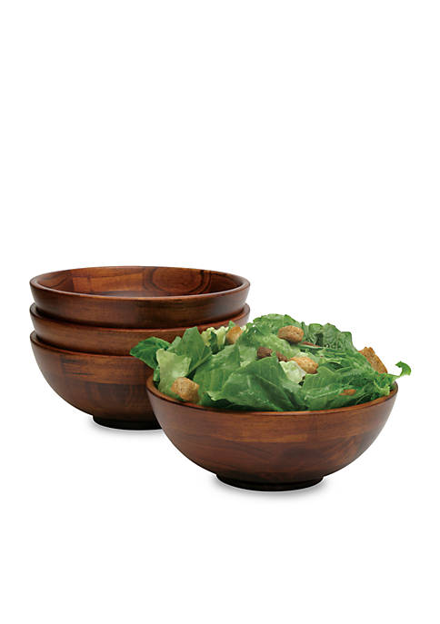 Lipper International Cherry Finished Footed Bowl Set of