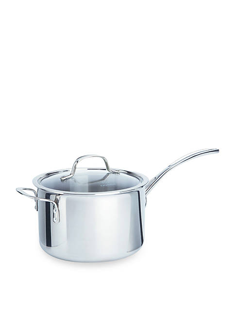 Calphalon® Tri-Ply Stainless Steel 4.5-qt. Saucepan with Cover