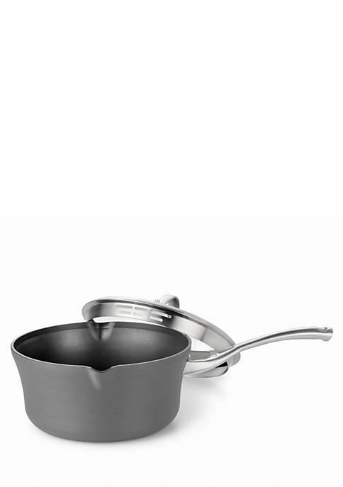 Contemporary Nonstick Hard Anodized Aluminum 3.5-qt. Pour & Strain Saucepot