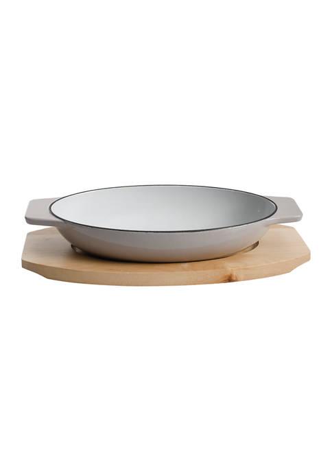 Gray 10.5 Inch Au Gratin Oval Cast Iron Baker on a Birch Wood Tray