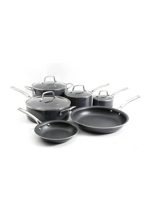 Black Nonstick Hard Anodized Aluminum 10 Piece Cookware Set