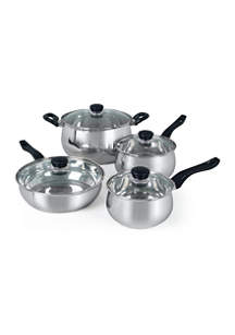 Gibson 8 Piece Oster Rametto Stainless Steel Cookware Set