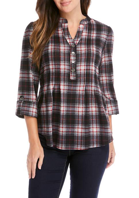 Womens 3/4 Sleeve Mistletoe Plaid Shirt