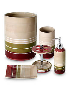 Saturday Knight Madison Stripe Red Bath Accessories Collection