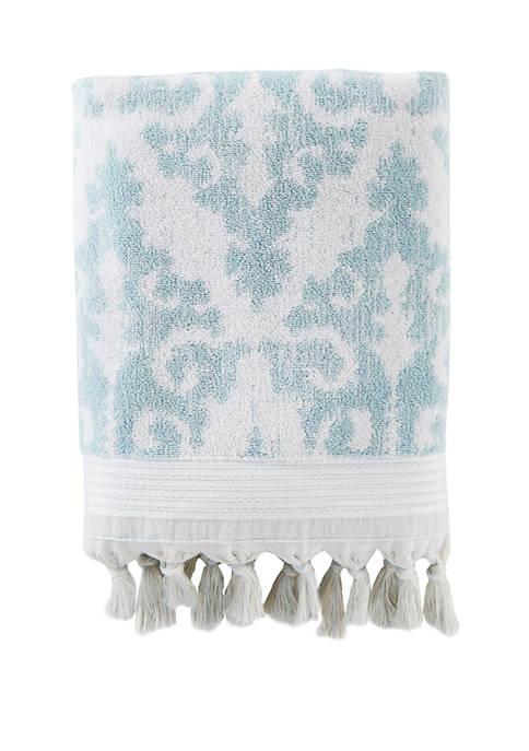 28 in x 54 in Mirage Fringe Bath Towel in Aqua