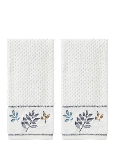 Set of 2 Pencil Leaves Hand Towels