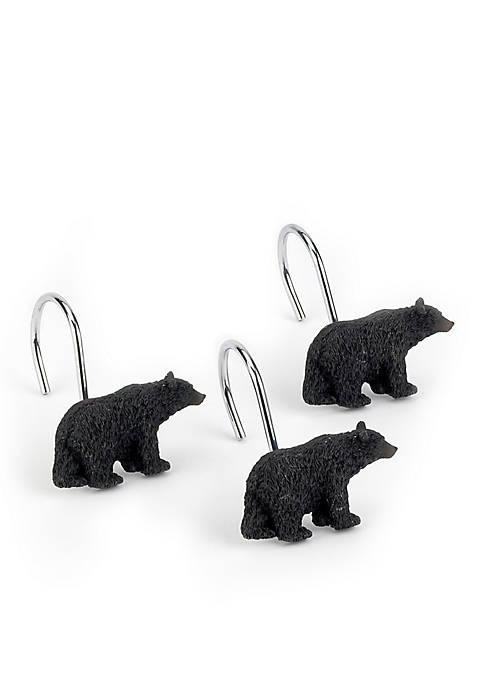 Avanti Black Bear Shower Curtain Hooks
